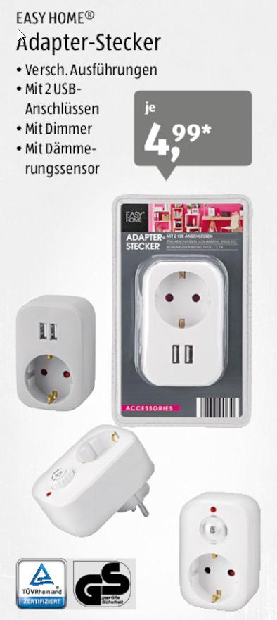 [Aldi Süd] ab 28.09.: Easy Home Adapterstecker (2x USB oder Dimmer oder Dämmersensor)