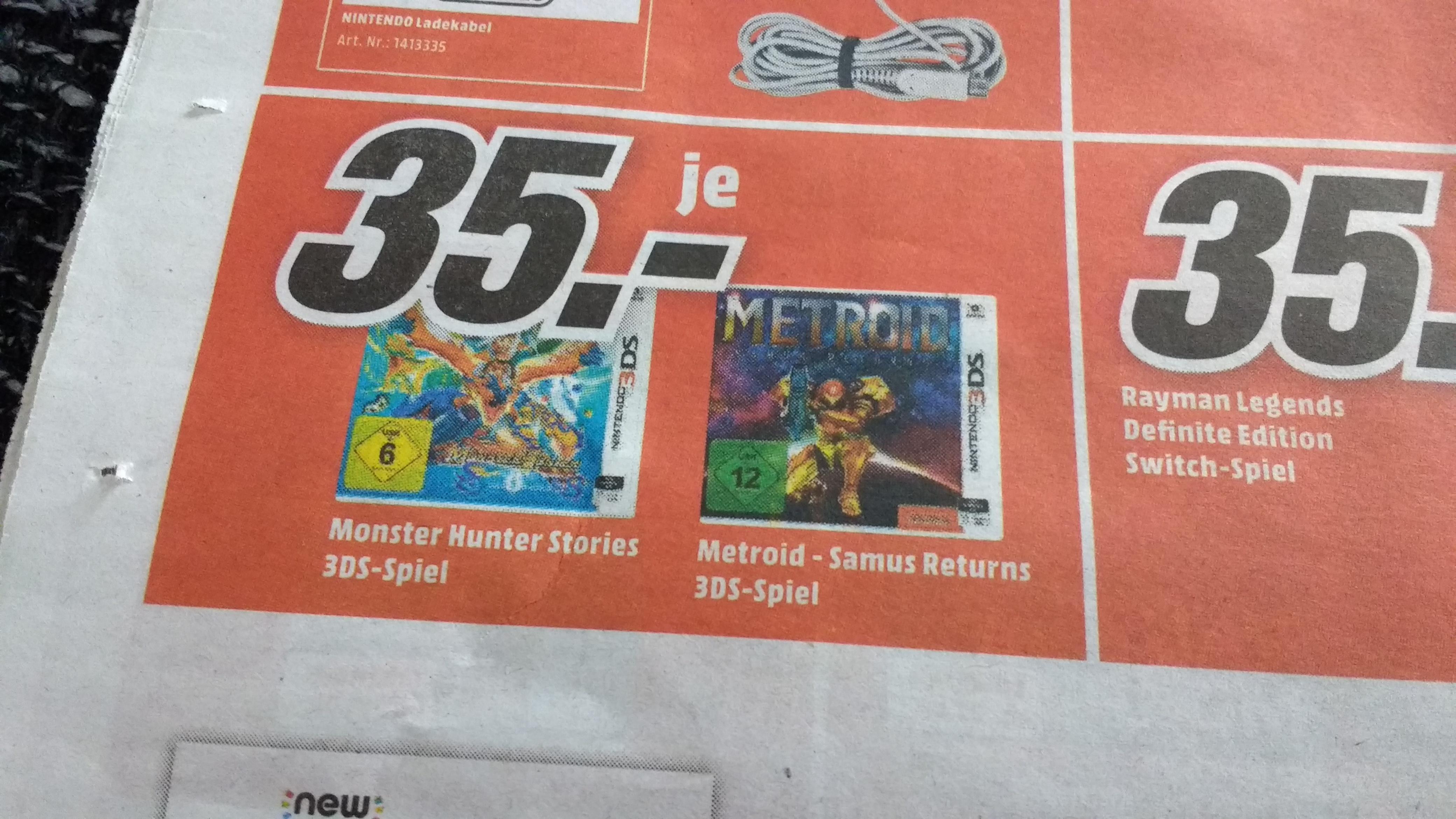 [Lokal] Media Markt Mainz Alzey Bischofsheim - Metroid: Samus Returns Nintendo 3DS (auch: Pokémon Gold und Silber als Download-Code in Retail-Box für 9,00 €)