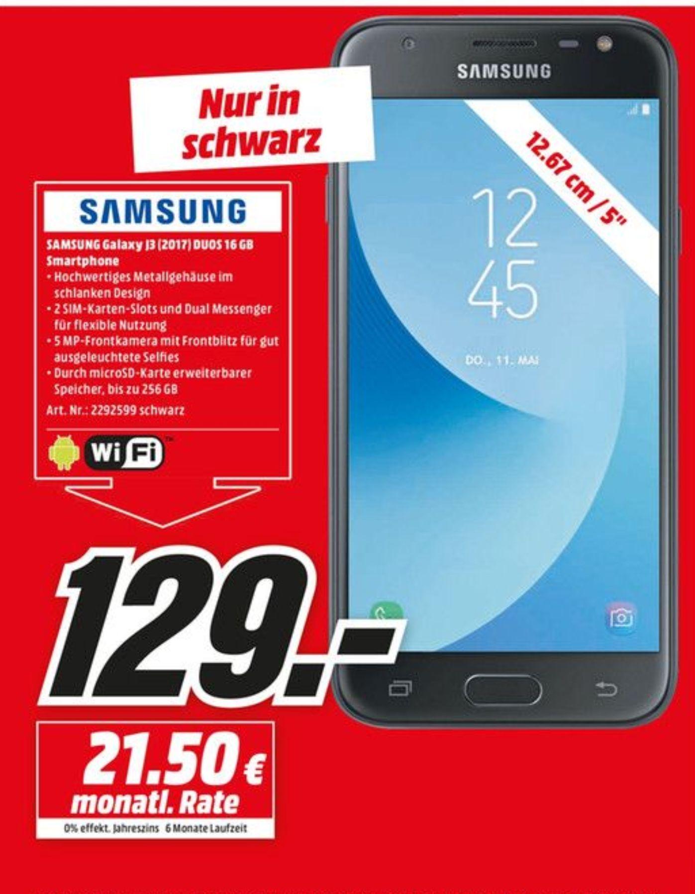 [Lokal MM Kassel] Samsung Galaxy J3 (2017) Duos 16GB *nur schwarz*