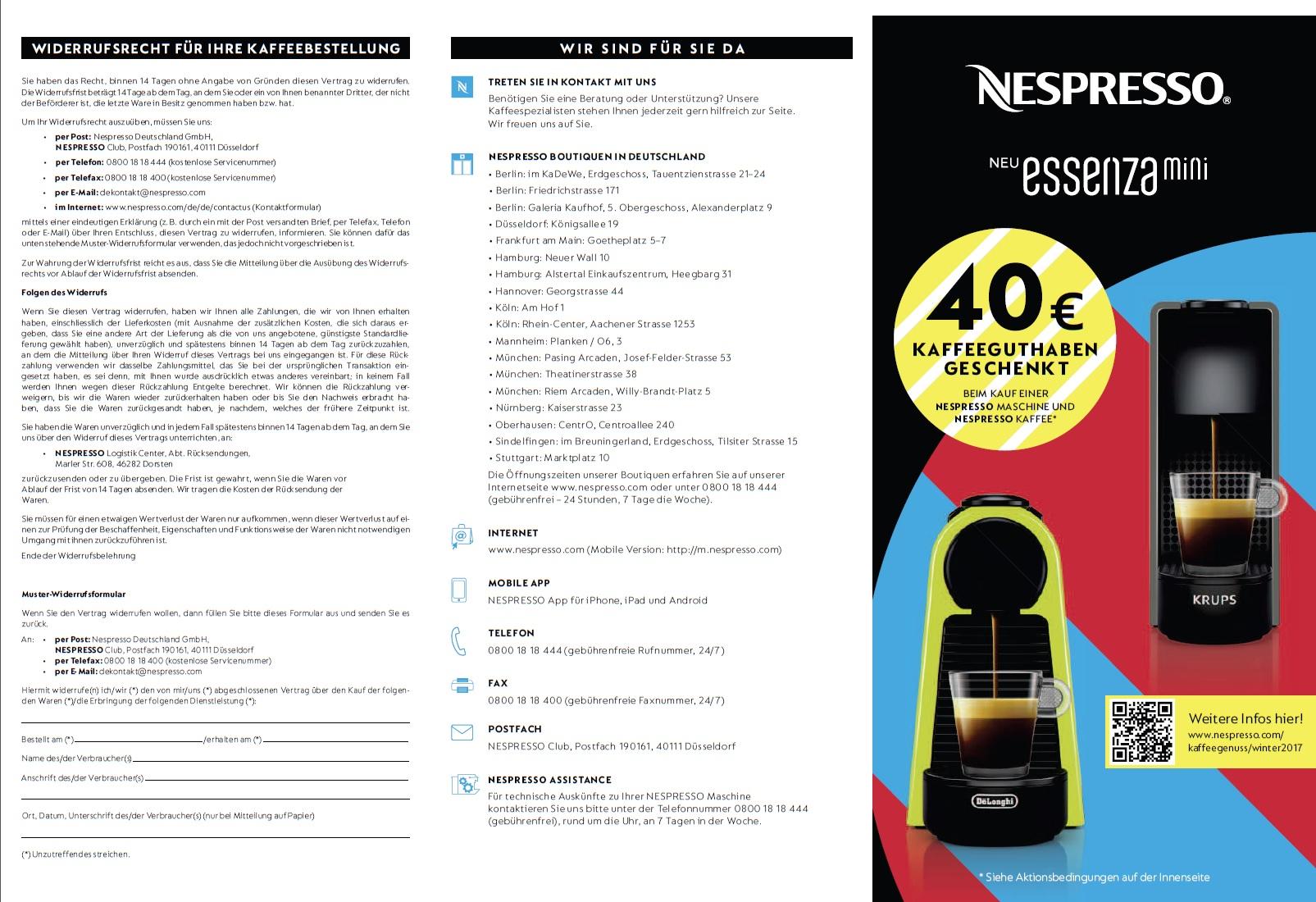 40 € Guthaben beim Kauf einer Nespresso Maschine vom 02.10.17 - 21.01.18