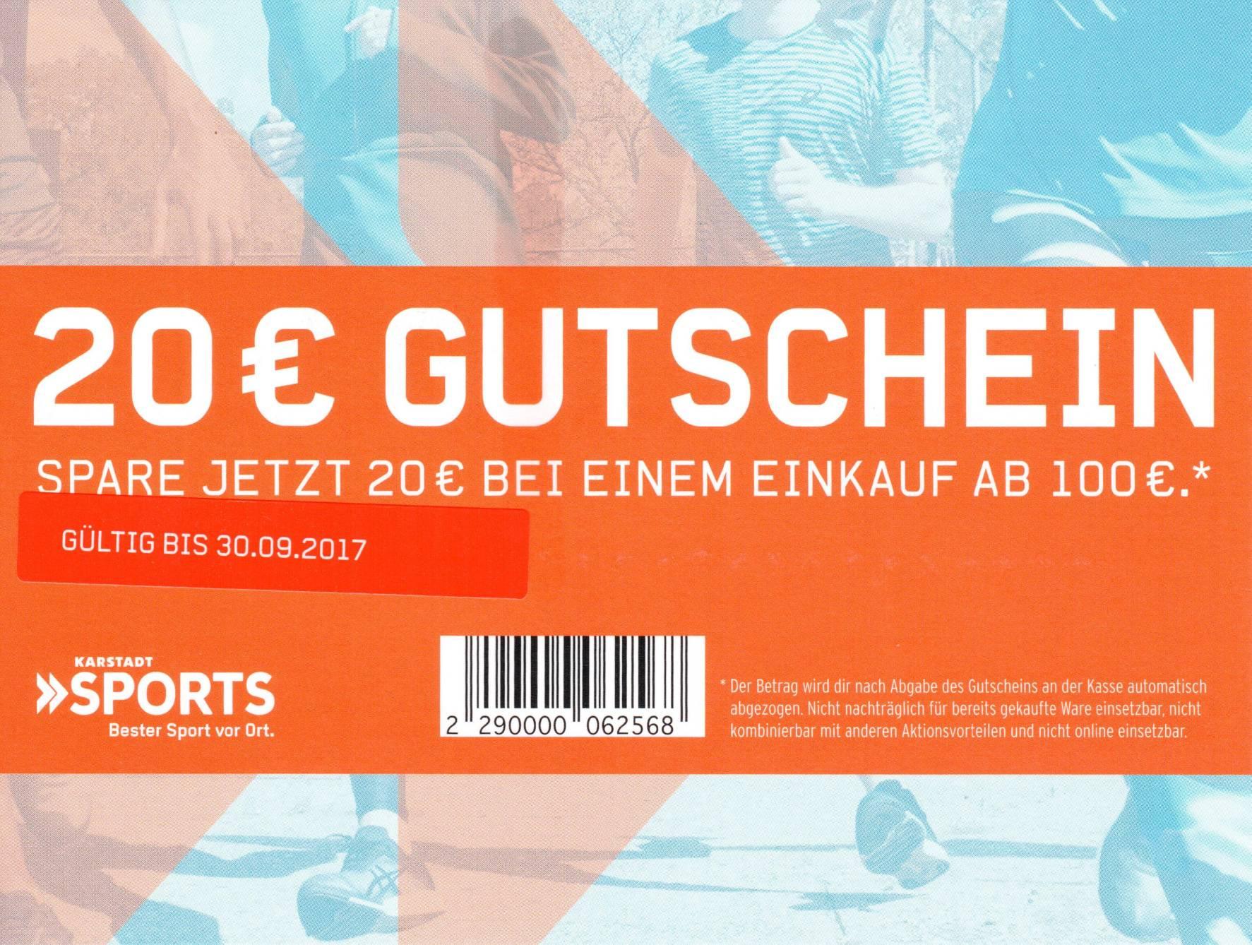 [Karstadt Sports] 20€ ab 100€ Offline bis 30.09.17