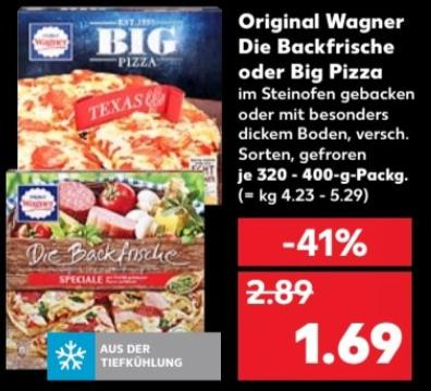 [Kaufland bundesweit ab 28.09] Original Wagner BIG Pizza oder Die Backfrische für 1,69 €