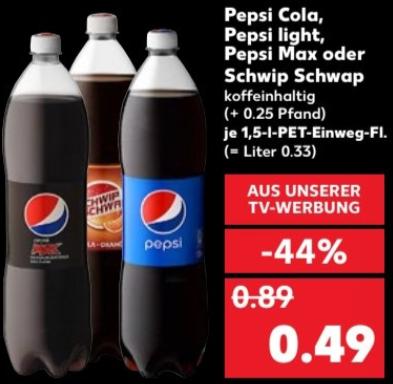 [Kaufland bundesweit ab 28.09] Pepsi Cola, Pepsi Max oder Schwip Schwap je 1,5 l Flasche für je 0,49 € (= Literpreis ca. 0,33€)