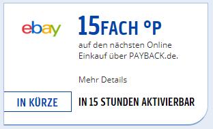 [Payback] 15fach Punkte auf den nächsten ebay Einkauf ab 22.09.17 *nicht für alle verfügbar*