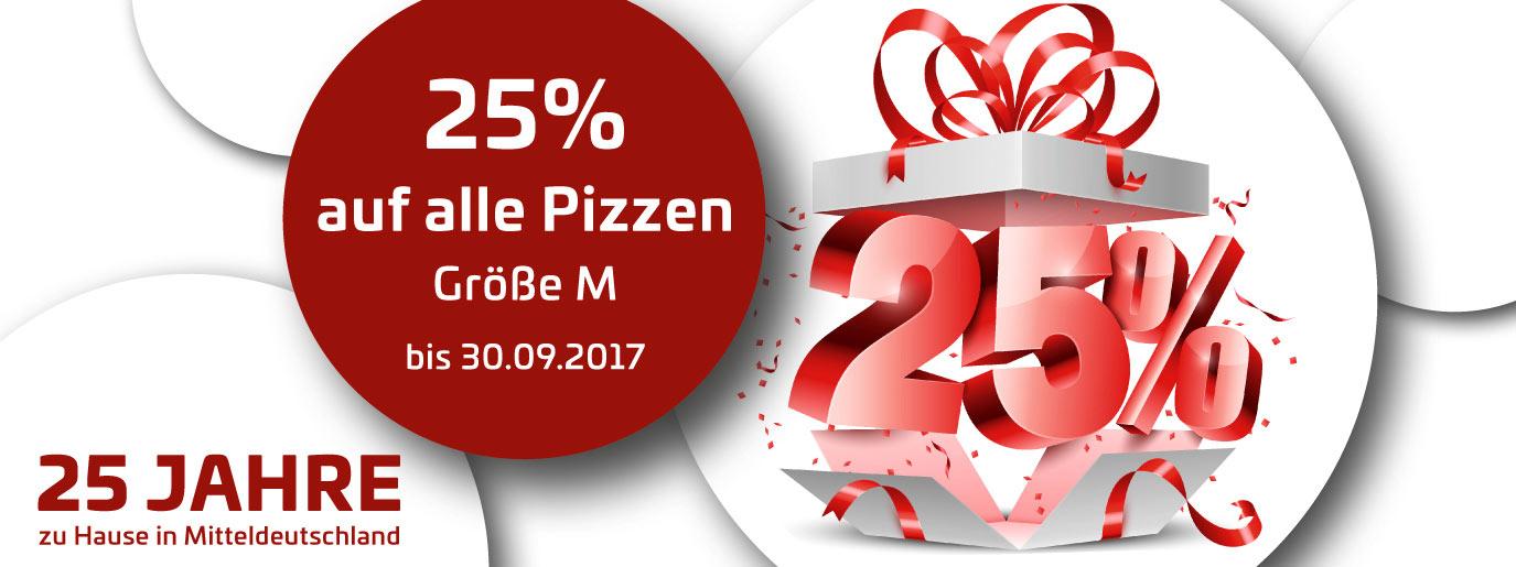 [Regional: Mitteldeutschland] Uno-Pizza 25% Rabatt auf alle Pizzen der Größe M