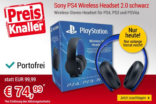 nur HEUTE - buecher.de - Sony PS4 Wireless Headset 2.0 schwarz - 74,99€