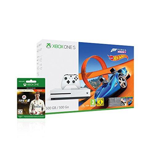 Xbox One S 500GB Konsole - Forza Horizon 3 Hot Wheels Bundle inkl. FIFA 18 Ronaldo Edition als Downloadcode [Amazon & Saturn] + 6.50€ Rabatt auf Gold Mitgliedschaft 3 Monate
