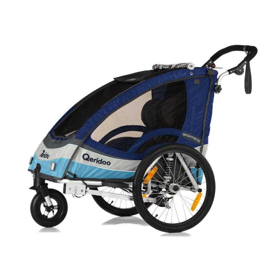 Kinderfahrradanhänger Qeridoo Sportrex 2 (2017er Modell) in blau für zwei Kinder