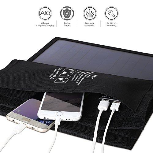 Aukey Solar Ladegerät 21W mit 2 USB Anschlüssen, 5V 2A max. für jeden Anschluss