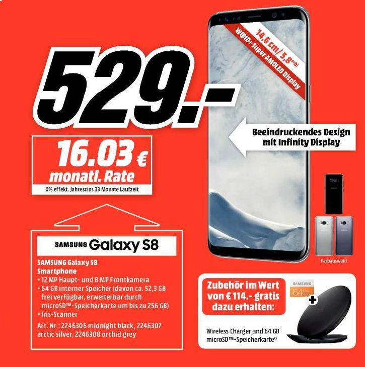 [Mediamarkt / Saturn] Samsung Galaxy S8 in allen Farben inc. Samsung Wireless Charger und 64GB Micro SD Speicherkarte für 529,-€((S8 Plus für 629,-€ inc Charger und Karte)) Update: Ab sofort gültig auch bei Saturn