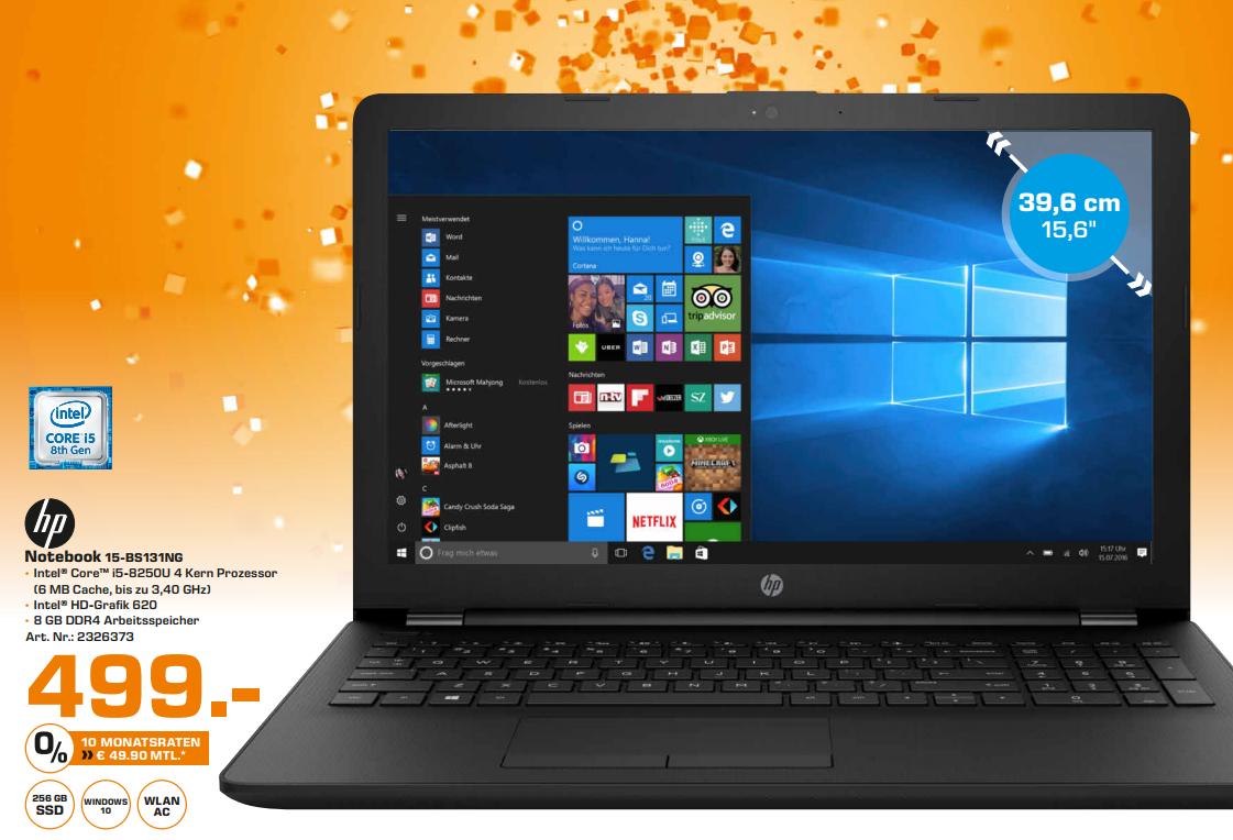 [Saturn Braunschweig] HP Notebook i5 8.Generation (Quad-Core) und 256 GB SSD