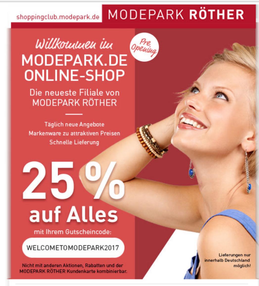 [Online] 25% Rabatt im neuen Onlineshop von Modepark Röther
