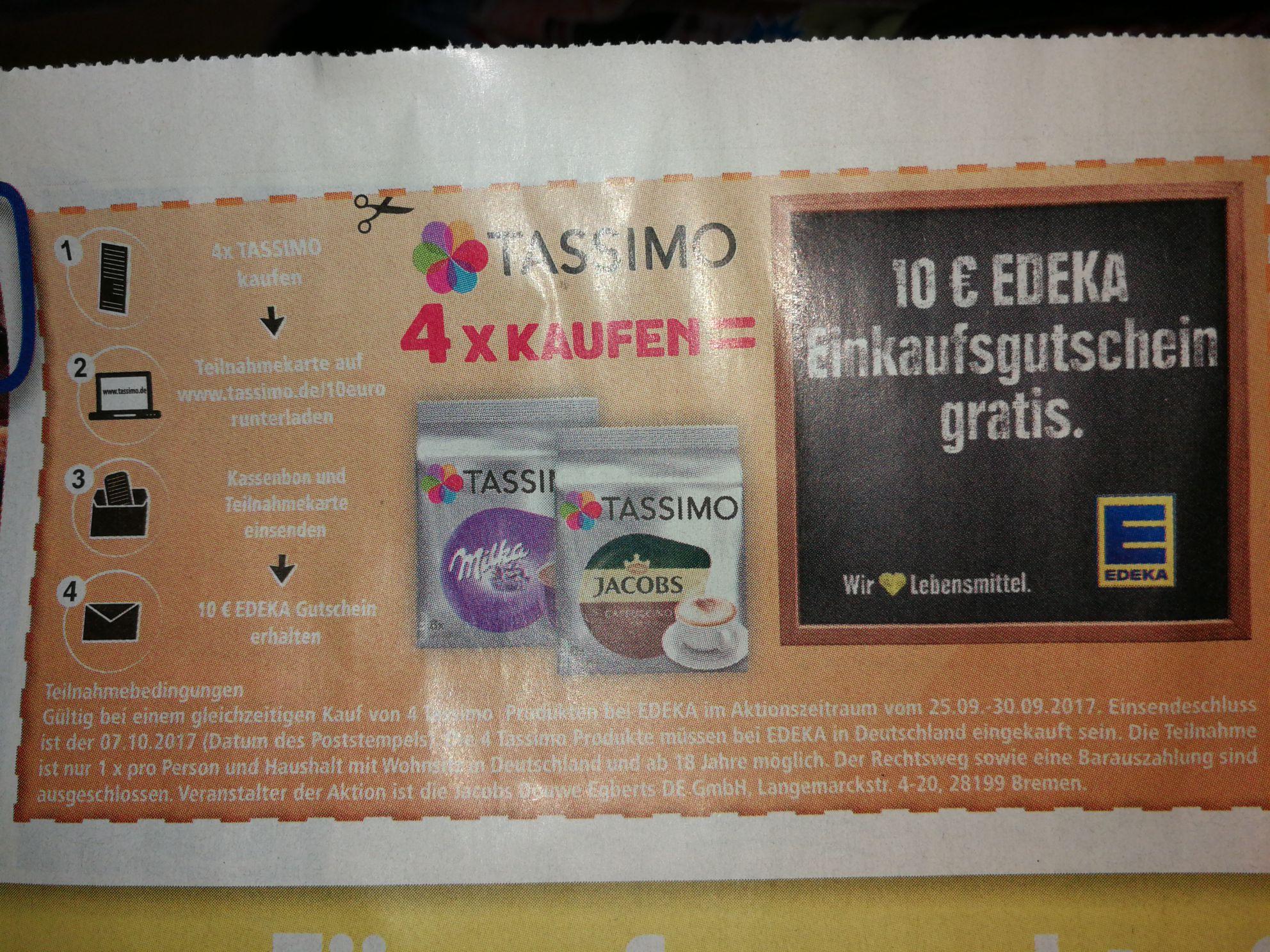 [Edeka bundesweit 25.09 bis 30.09] 4 Packungen Tassimo zu je 3,79€ kaufen und 10 Euro Edeka Gutschein erhalten (entspricht effektiv 1,46€ pro Packung)