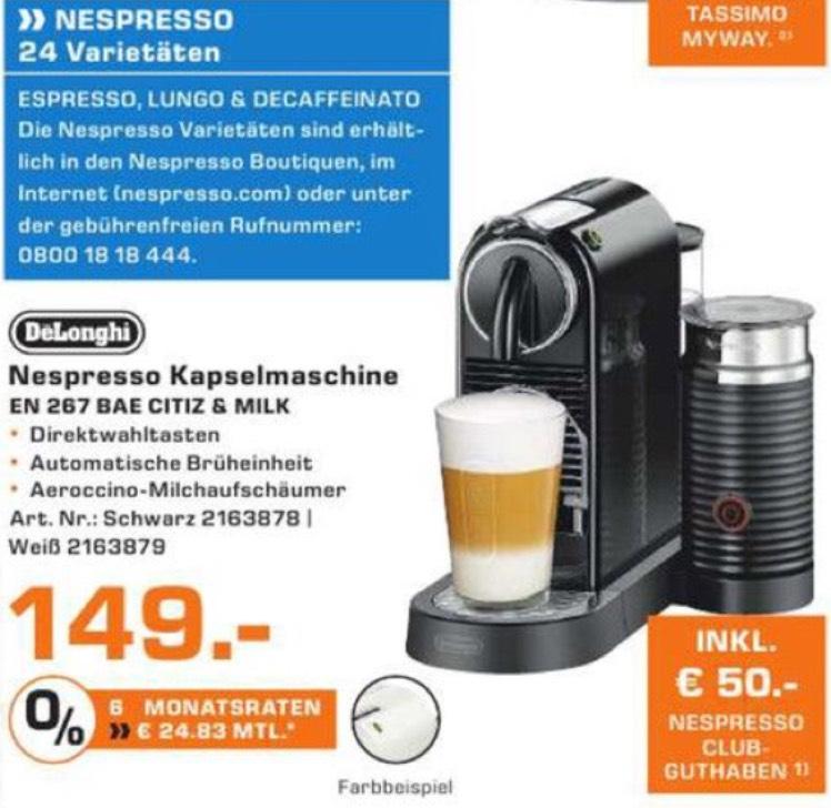DeLonghi Nespresso Kapselmaschine lokal Hamburg und Norderstedt offline Saturn bis zu 50€ Nespresso Club Guthaben