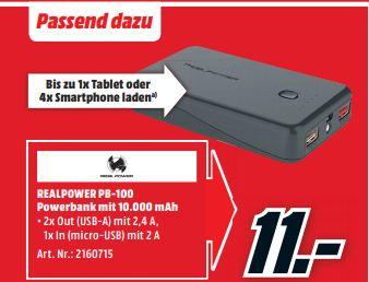 [Mediamarkt ab 27.09-Noch ein paar Angebötchen] zb. REALPOWER PB-100 Powerbank 10000 mAh Schwarz für 11,-€ und weiteres.