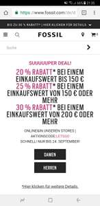 Fossil SUUUUUPER DEAL! 20% bis 150€ 25% ab 150€ 30% ab 200€