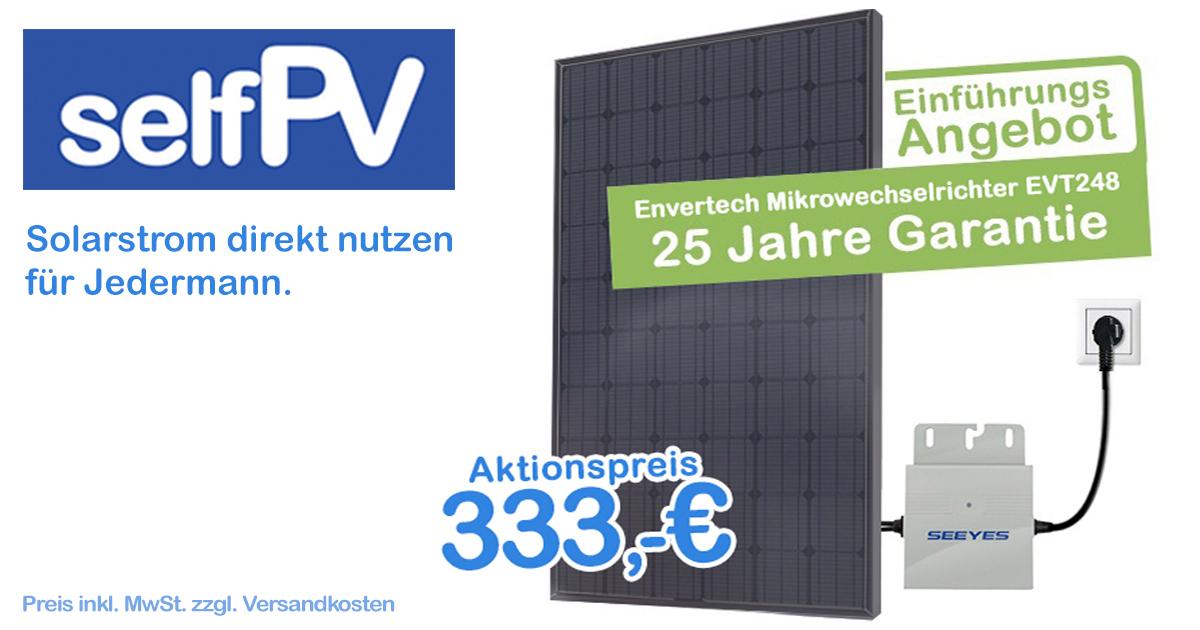 265Watt Mini PV Komplett Anlage  für 298€ (39,70 Versand), 1xEVT248 Wechselrichter & 1x265Watt PV Modul