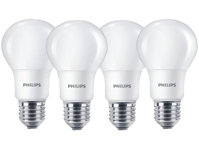 4x Philips LED E27 (806lm, 2700K = warmweiß, 80Ra) für 6€ versandkostenfrei [Mediamarkt]