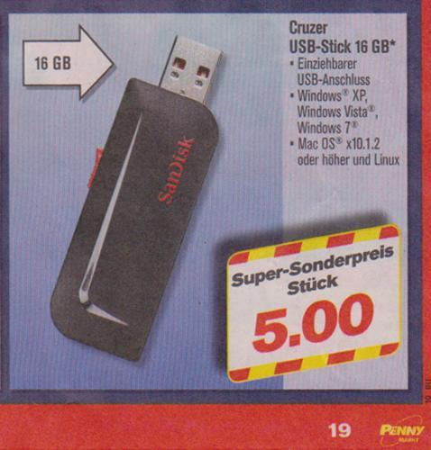 16 GB USB Stick von SanDisk bei Penny