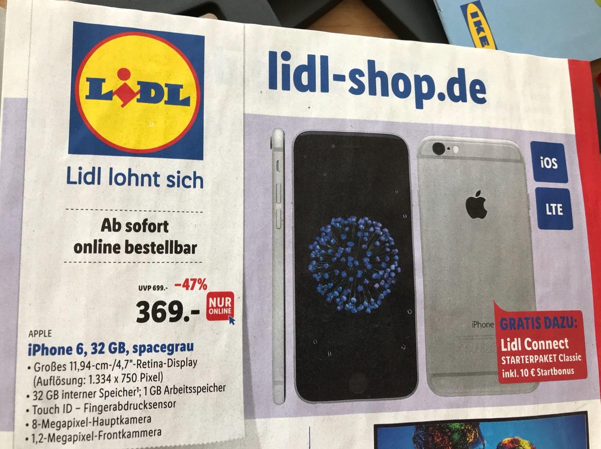 Apple iPhone 6 32GB spacegrau für 369 Euro plus 4,95 Versand [nur online] auf Lidl.de