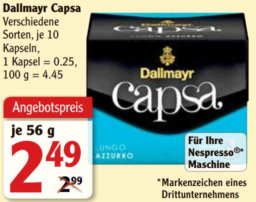 [AEZ/Globus/HIT] Dallmayr Capsa (Lungo Belluno) 10 Kapseln / 56g (für Nespresso) nur 1,79€ (Angebot+Coupon)
