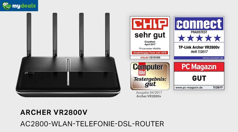 TP-Link Archer VR2800v: Fritz! Box Alternative im Amazon Lightning Deal ab 17:20 Uhr (Laufzeit 4 Stunden): AC2800 WLAN-Telefonie-DSL-Router