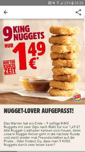 [Burger King] 9 King Nuggets inkl. 2 Dips für 1,49 €