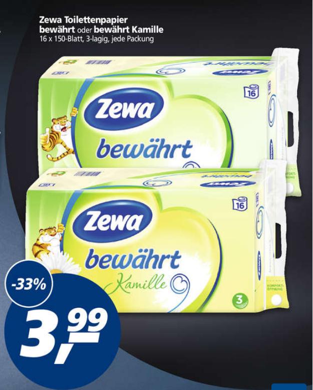 [real+Reebate] Zewa Bewährt 16x150 Blatt 3-lagig für effektiv 1,99€