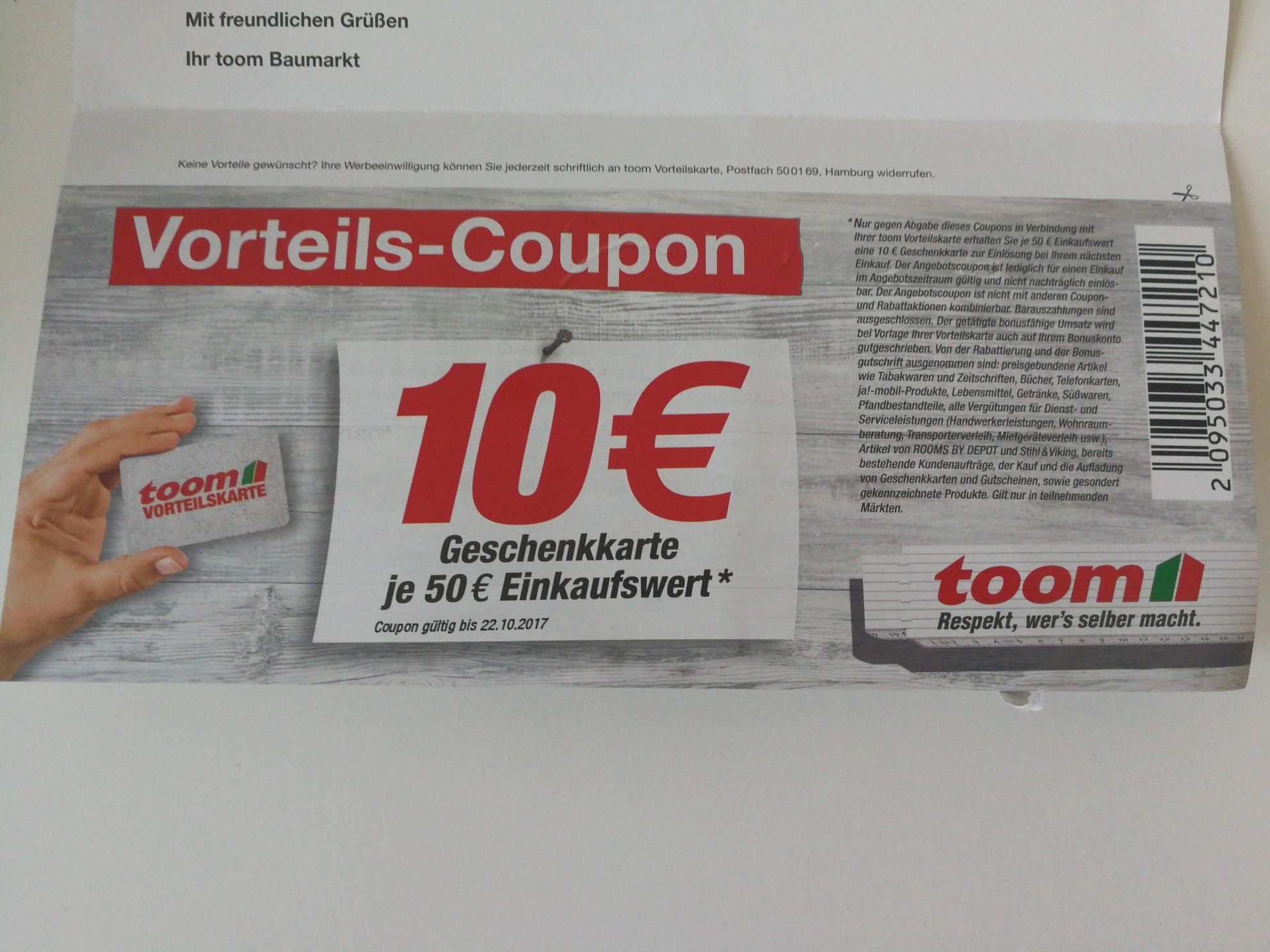 Toom 10€ Gutscheinkarte je 50€ Einkaufswert