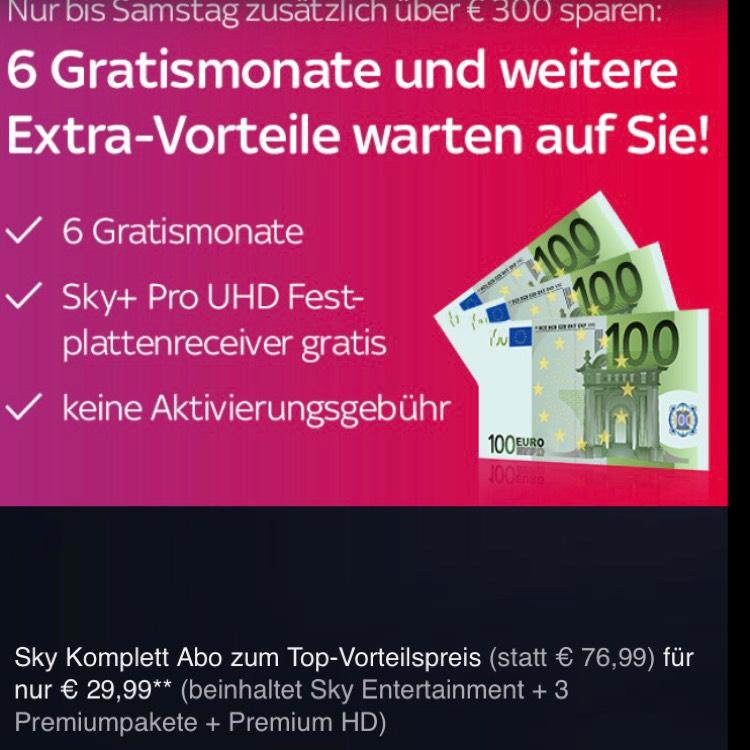 Rückholangebot? Sky komplett E S B C HD + 6 Freimonate + gratis UHD Receiver - effektiv für 12 Monate 192,84 €