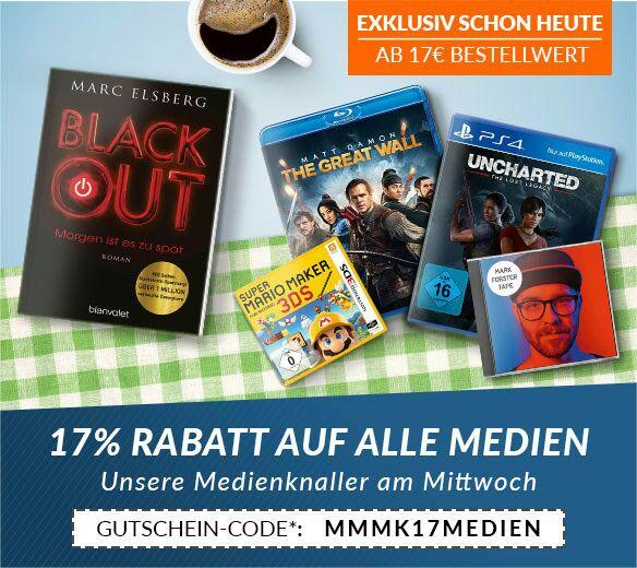 Rebuy Gutschein: 17% auf Medien, MBW 17€