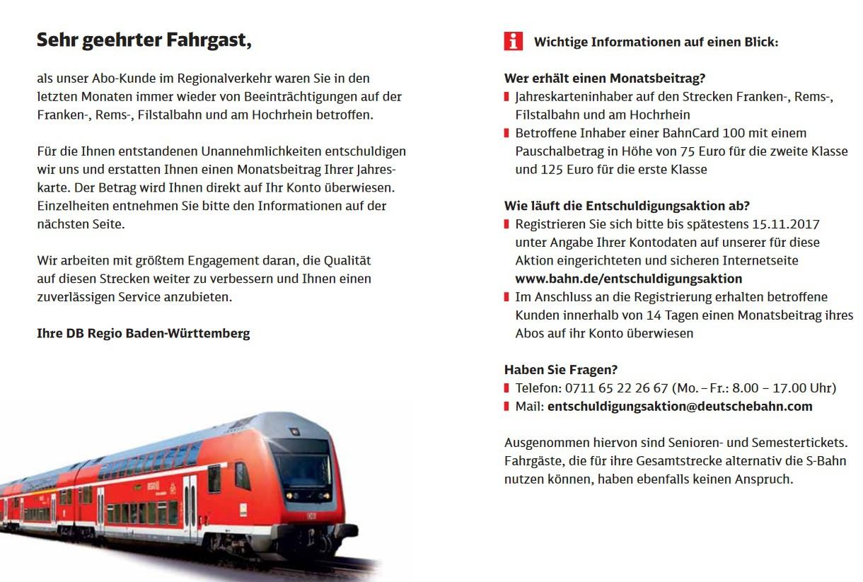 Geld zurück für Jahreskarten & BC100 Pendler von Frankenbahn, Remsbahn, Filstalbahn, Hochrheinbahn