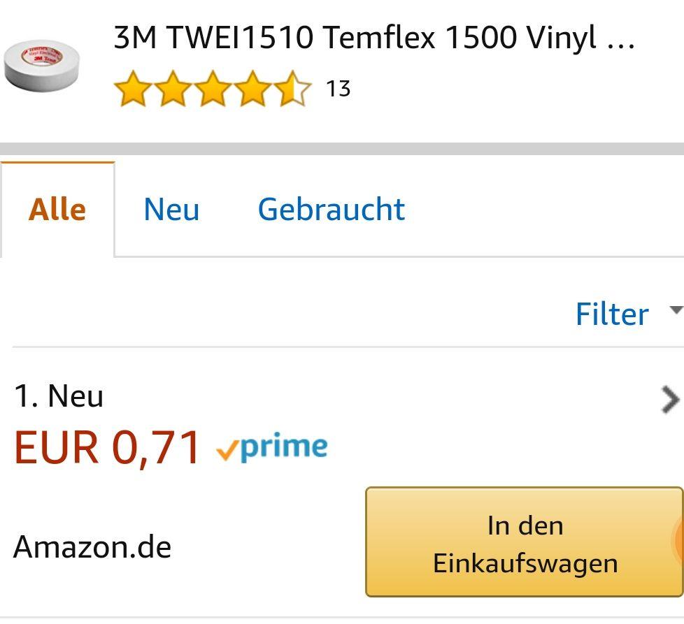 3M Isolierband, weiß für 0,71€ incl. Versand