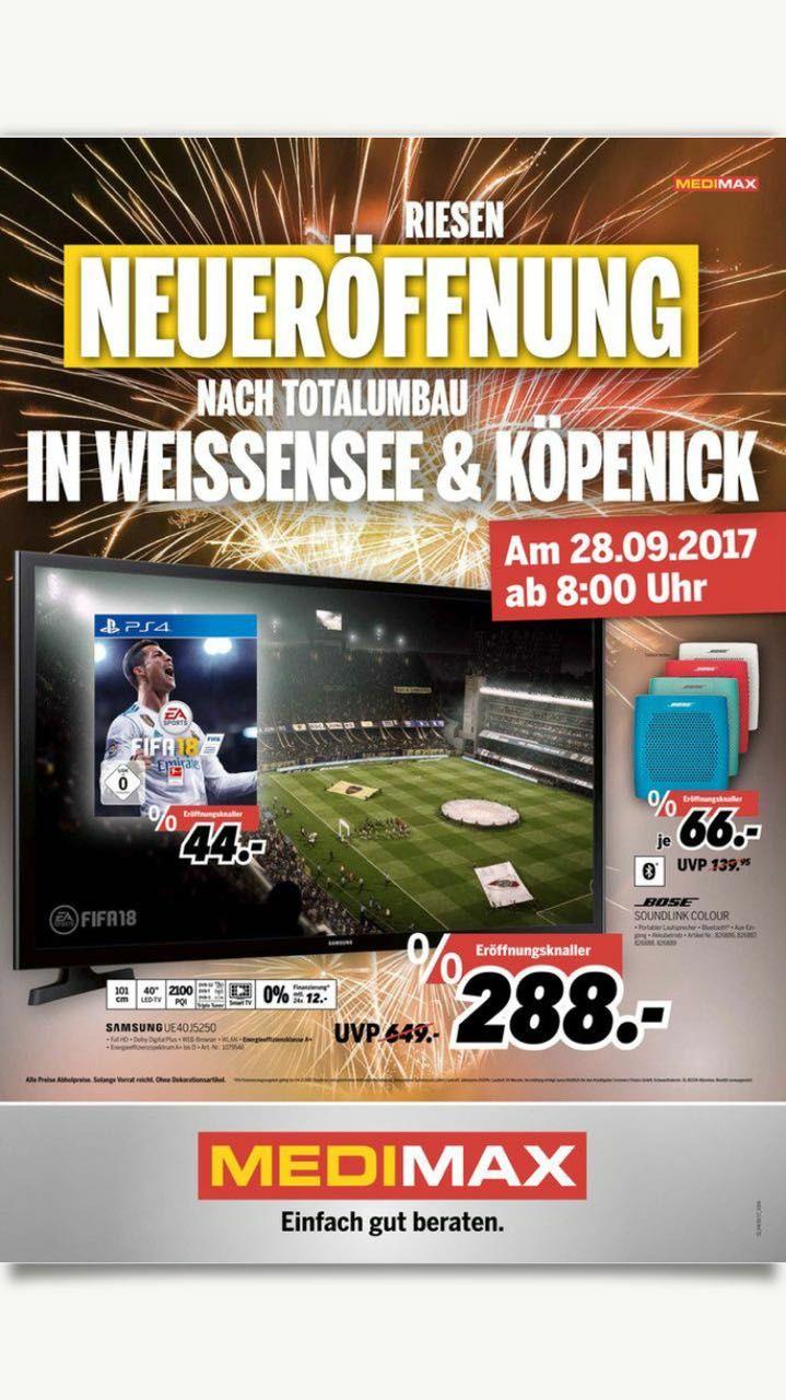 """[Lokal Berlin] MediMax Weißensee/Köpenick Wiedereröffnung / FIFA 18 PS4 44€ und viele weitere Angebote z.B. Bose Soundlink 66€; Apple MacBook Pro 13"""" 1199€ [ab 28.9.]"""