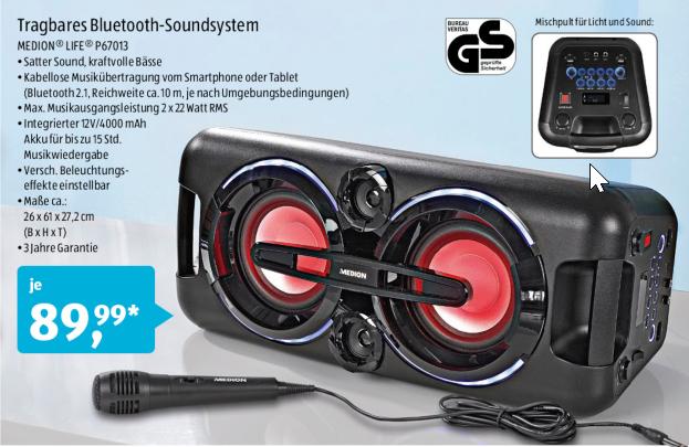 [Aldi Süd] Party-Soundsystem mit Bluetooth 2.1, 440 Watt Ausgabeleistung ,farbigem LED-Licht, 2 x USB, AUX Anschluss, 2 x 22 Watt RMS, integr. Akku und Mikrofon für Karaoke Funktion