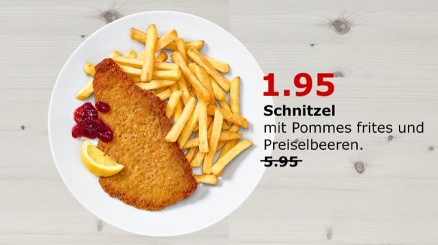 Nur am Sonntag (1. Oktober) im IKEA Berlin Schnitzel mit Pommes für 1,95€ statt 5,95€