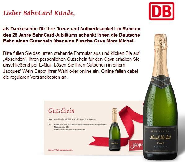 [BahnCard & bahn.bonus Kunden] Gutschein für eine kostenlose Flasche Cava Mont Michel (bundesweit bei Jacques´ Wein-Depot Fillialen einlösbar)
