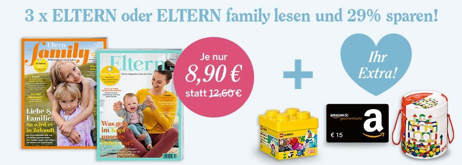 3 Ausgaben Eltern oder Eltern Family für 8,90€ und einen 15€ Amazon-Gutschein als Prämie erhalten