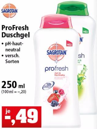 [Thomas Philipps] Sagrotan ProFresh Duschgel versch. Sorten 250ml 0,49€ bzw. 0,19€ (Angebot+Cashback)