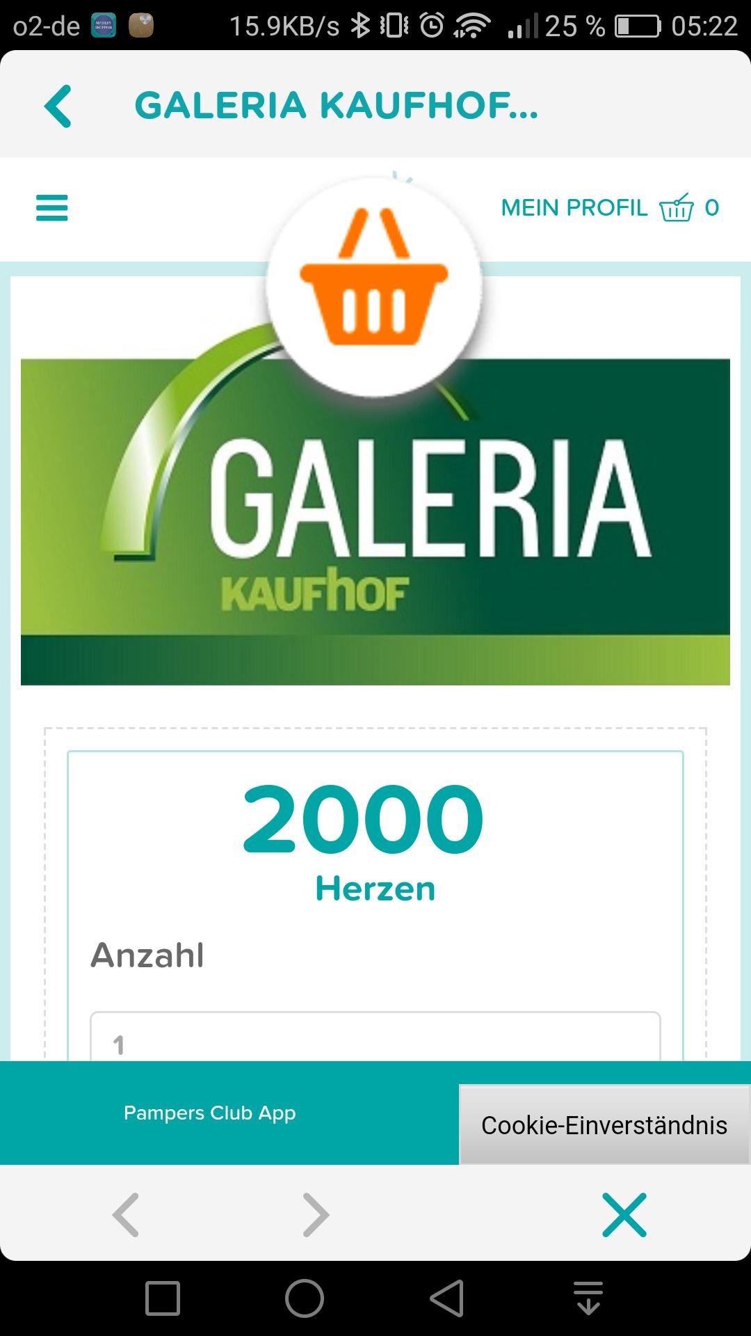 Pampers Club jetzt Punkte auch in Galleria Kaufhof Gutschein einlösen 2000 Pkte=20,-Euro