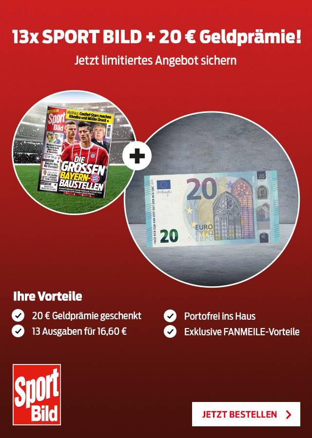 Sport Bild 13 Ausgaben für 16,60€ mit 20€ Verrechnungsscheck
