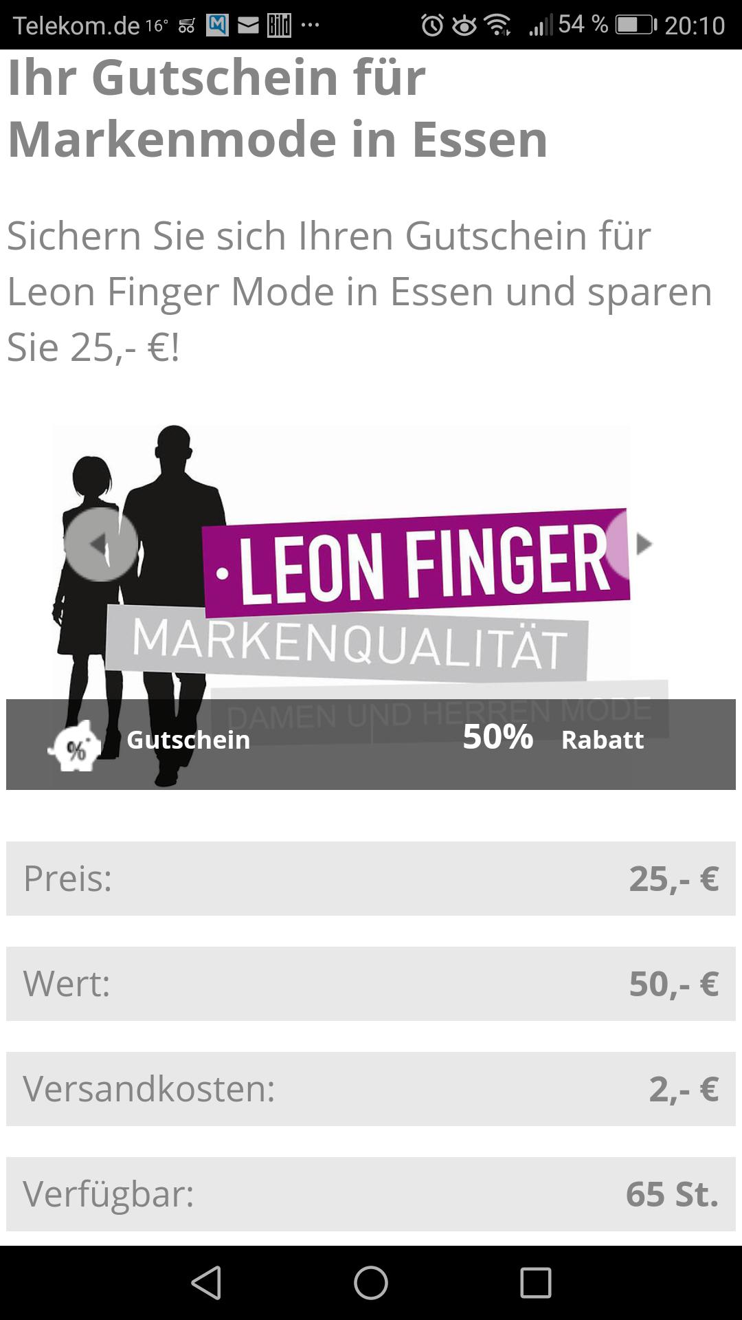 [lokal Essen NRW] 50€ Gutschein für Leon Finger Markenmodehaus für 27