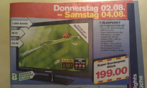 Blaupunkt LED-TV B32P189 inkl. DVB-T/-C/-S-Tuner FullHD, 3HDMI CI+ [LOKAL - Penny Chemnitz] 3 JAHRE GARANTIE