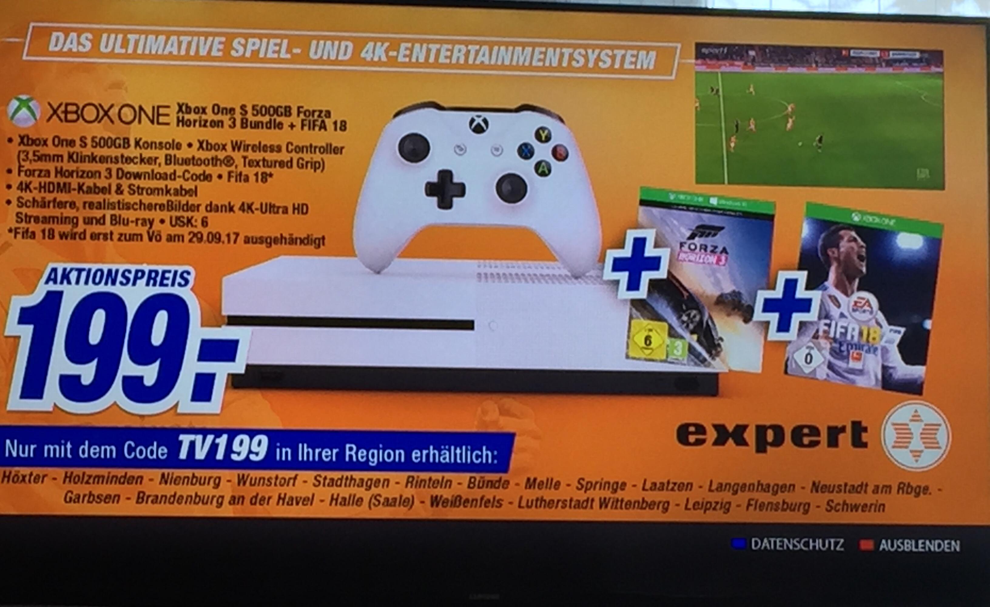 [Lokal] XBOX One S 500GB Forza Horizon 3 Bundle +  FIFA 18 für 199€ bei ausgewählten Expert Märkten