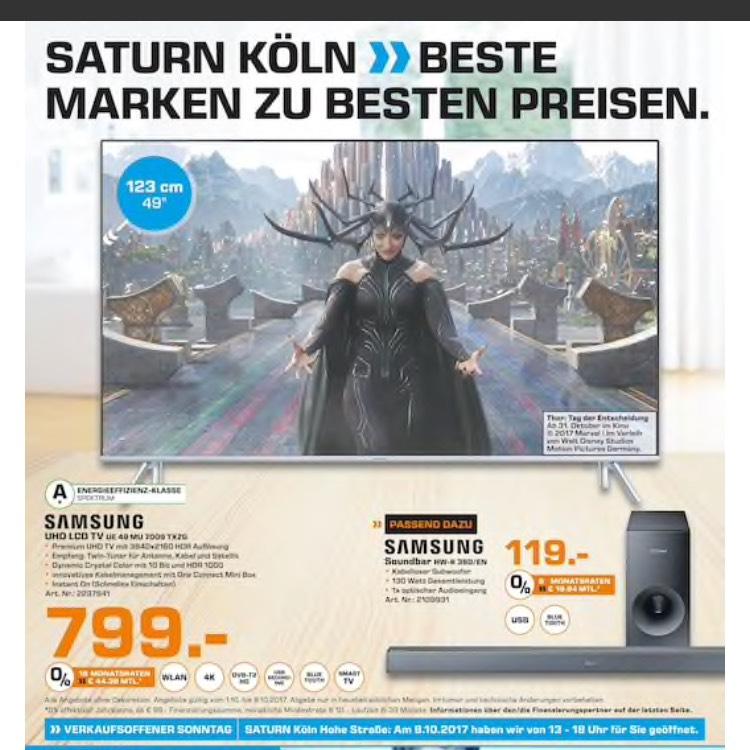 Ca. 12% ersparnis ggü Netzpreis!! Samsung 49MU7009 Premium TV