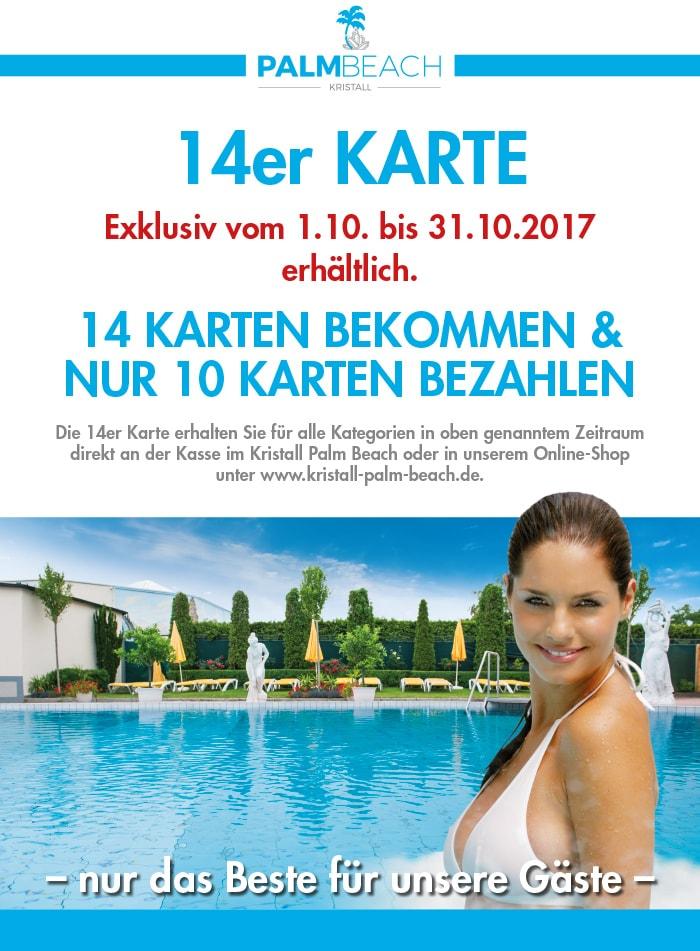 [ONLINE verfügbar] AKTION im Oktober: 4 Eintrittskarten Gratis im Kristal Palm Beach (Stein bei Nürnberg)
