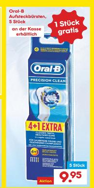 [Netto MD Marken Discount] (ohne Hund) 5x Oral-B Aufsteckbürsten Zahnbürsten 4+1 Precision Clean