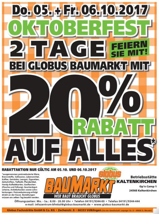"""Globus Baumarkt 20% auf """"alles"""" am 5. & 6.10. (lokal Kaltenkirchen)"""