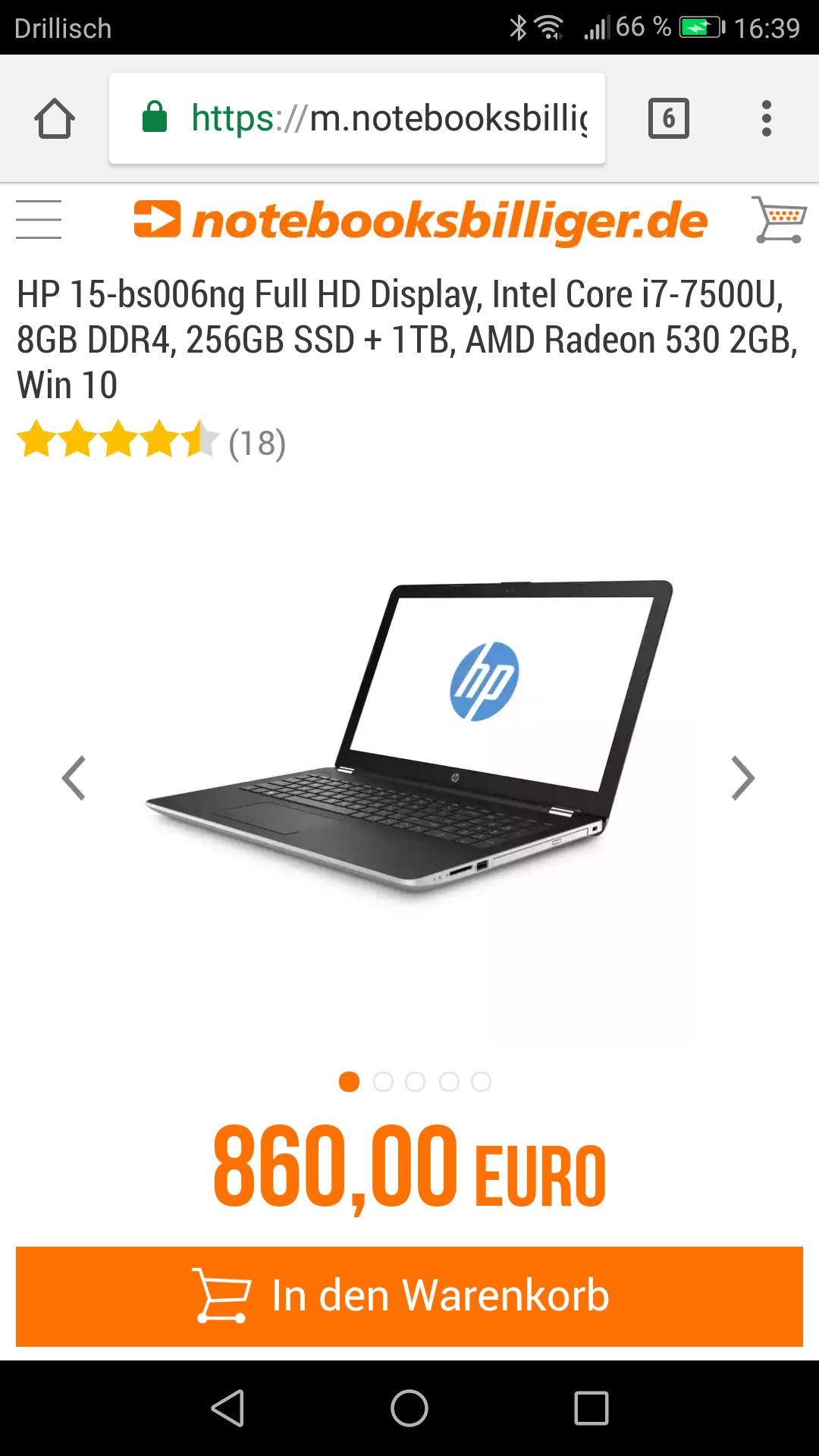 HP 15-bs006ng  für 767,99€ statt Idealo // 830€