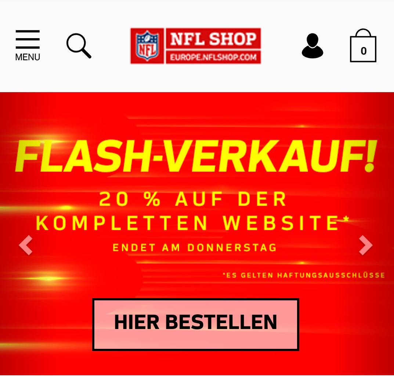[NFL-Shop] 20% im Flash-Verkauf auf Alles im NFL Europe-Shop +15% NL möglich